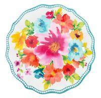 The Pioneer Woman Breezy Blossoms Bouquet Salad Plate Melamine 8.75 Inch Teal