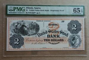 United States Stock Bank Sparta IL $2 Proprietary Proof graded by PMG Gem Unc 65