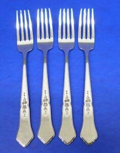 """4 - Oneida GAZEBO All Glossy Stainless Flatware 7 1/2"""" DINNER FORKS"""