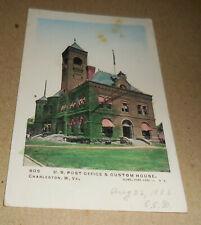Vintage U S Post Office & Custom House Charleston West Virginia postcard