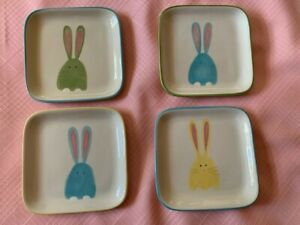 "Tag Glass Appetizer Plates Easter Decor 6"" x 6"""