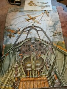 Rare Vintage Spitfire Areoplane Single Duvet Cover & Pillowcase great Condition