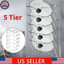 5 Tier Pan Lid Storage Rack Wall Mount Pot Cover Organizer Holder Kitchen Tool