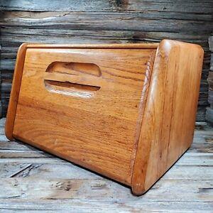 "Vintage Farmhouse Rustic Large Wooden Hand Bread Box Door 15"" x 9"" x 12"""