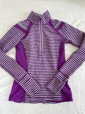Ivivva by Lululemon Girls Long Sleeve Purple Stripe 1/2 Zip Athletic Top Size 12
