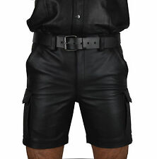 awanstar SOFT AND PLAIN Real Leather Cargo Shorts,Trousers,Combat leather Shorts