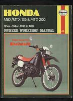 Honda MBX MTX 125 200 RW (1983-1986) Haynes Work Shop Repair Manual Book MBX125F