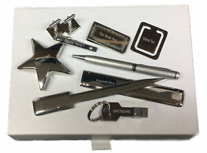 Box Set 8 USB Pen Star Cufflinks Post Fake Family Crest Engraved