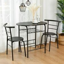 3 Piece Dining Table Set 2 Chairs Metal Kitchen Room Breakfast Furniture Brown