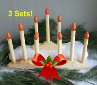 3 Sets Mid-Century 3 Lights/Candles Electric Candolier~VINTAGE CHRISTMAS DECOR!