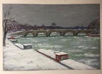 Tableau Post impressionniste Quai de seine à Paris Péniches sous la Neige Huile