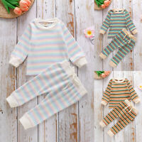 ❤️Toddler Infant Kids Boys Girls Stripe Long Sleeve Tops Shirt Pants Outfits Set