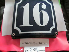 Hausnummer Emaille Nr. 16 weisse Zahl auf blauem Hintergrund 14 cm x 14 cm #