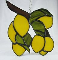 Stained Glass Yellow Lemons Tropical Suncatcher | Window Decoration