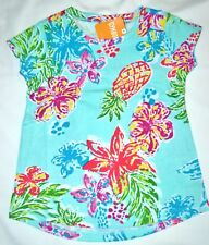 Gymboree Mix N Match Tropical FLOWER PINEAPPLE Blue Shirt XS 4 Kid Girls NWT