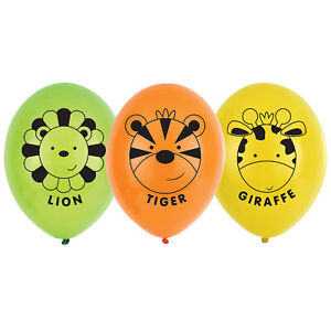 6 x Assorted Safari Animal Face Balloons Helium or Air Jungle Party Decoration
