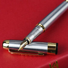 Luxury Fountain Pen 250 Stainless Steel Gold Trim Learning Tool Free Shipping
