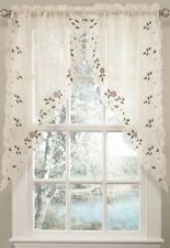 Rosemary Swag Pair Curtains 58x38 Linen Color Embroidered Floral Semisheer Decor