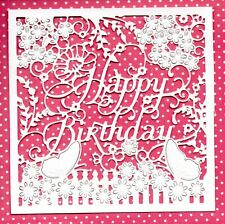 NEW LARGE HAPPY BIRTHDAY FLORAL FRAME DIE CUTS -TOPPER GARDEN BUTTERFLY