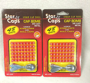 2 X CAP BOMB WITH 48 SHOTS METAL ROCKET EXPLODING BANG GAG TRICKY  TOY 01B4002