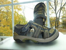 TEVA Boys Olive Green Gray MESH LEATHER Athletic Shoes SANDALS Size 2 Youth
