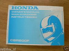 HONDA CBR600F OWNERS MANUAL ORIGINAL 1991,INSTRUKTIEBOEK,MANUEL DE EXPLICACIONE