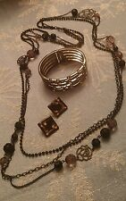 JEWELRY SET LOT VINTAGE LONG NECKLACE BLACK EARRINGS BRACELET HINGE