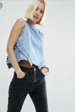 ASOS Denim Shell Camisole Top Ruffles Size 10 Perfect Condition