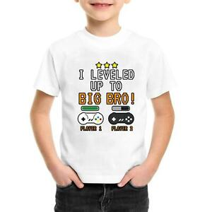 New Boys Leveled Up to Big Brother T-Shirt Gaming Sibling Bro Promotion 2021 Tee