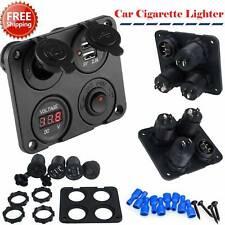 12v Switch Panel Cigarette Lighter Socket 3.1a USB Charger Voltmeter Car Boat a