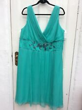 BNWT MONSOON TURQUOISE GREEN PURE SILK FORMAL DRESS SIZE 22