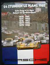 PORSCHE 10th LE MANS OVERALL VICTORY SHOWROOM POSTER FROM 1970 - 1985 RARE 1985