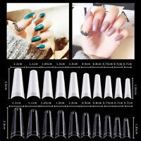 500/1000 X Flat French Coffin False Nail Tips Half Cover Acrylic Gel Tip Nails