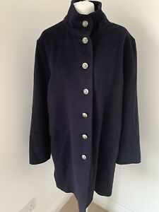 Gorgeous Vintage Jaeger Navy Wool & Cashmere Coat Military Buttons UK 12