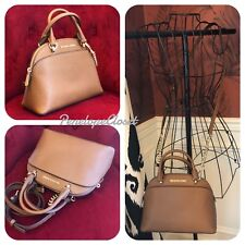 NWT MICHAEL KORS LEATHER EMMY SMALL DOME SATCHEL BAG IN LUGGAGE (SALE!!)