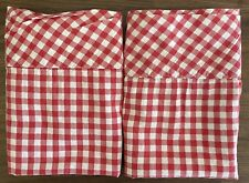 Pottery Barn Red Gingham Check Organic Pillowcases KING Checked