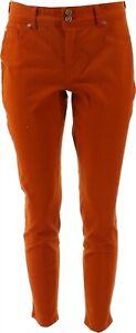 IMAN Global Chic 360 Slim Skinny Jean BURNT ORANGE 14 Avg NEW 703-291