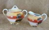 Made in Japan handpainted vintage creamer sugar bowl orange landscape tree China