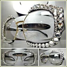 Oversized Retro Style Clear Lens EYE GLASSES Black Gold Frame Crystals Handmade