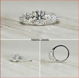 3Ct White Round Cut Moissanite 3 Stone Pave Engagement Ring In 14k White Gold