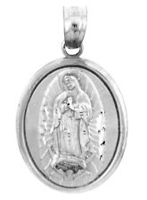 Silver Virgin Mary Miraculous Medal Charm Blessed Mother of Guadalupe Pendant