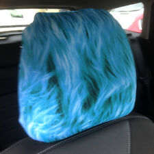 CAR SEAT HEAD REST COVERS 2 PACK BLUE MONSTER FUR PRINT DESIGN