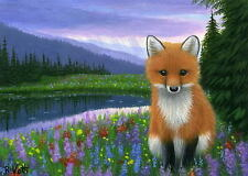 Red Fox wildlife rain storm mountain lake limited edition aceo print of painting
