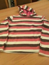 girls clothes 11 years Pink White Brown Striped Hooded Soft Fleece Top