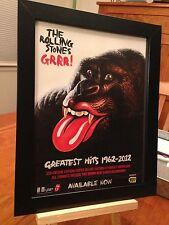 """FRAMED ROLLING STONES """"GRRR!"""" GREATEST HITS 1962- 2012 LP ALBUM CD PROMO AD"""