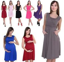 Dress a-Line Mama Knee Length With Ruffles with Pockets V Neck