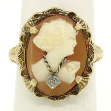 Antique Art Deco 10k Yellow Gold Filigree Shell Cameo Ring w/ Rose Cut Diamond