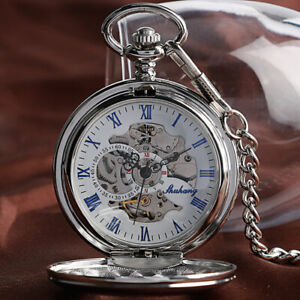 Vintage Mechanical Pocket Watch Chain Gift Skeleton Smooth Case Silver Fob Watch