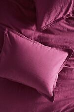 NEW Anthropologie Relaxed Cotton-Linen Shams In Wine Set of 2 Standard