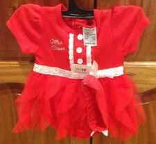 BABY CHRISTMAS DRESS/ONSIE WITH HEADBAND MRS CLAUS PRINT SIZE 000 NEW WITH TAGS